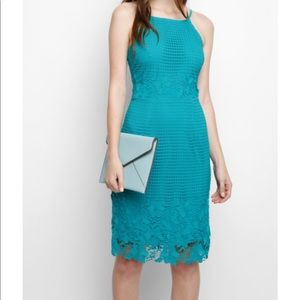 Willow and Clay Teal Lace Midi Dress